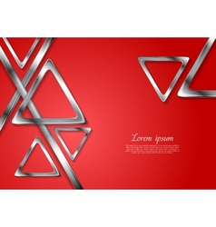 Abstract tech geometry metallic triangles vector