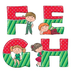 Alphabet kids efgh vector