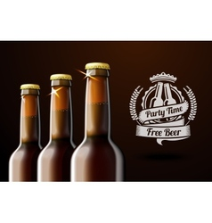 Banner for beer adwertisement with three realistic vector image