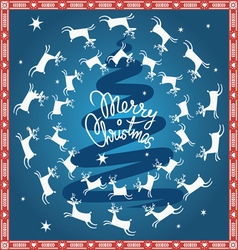 blue Christmas card with flying deer vector image