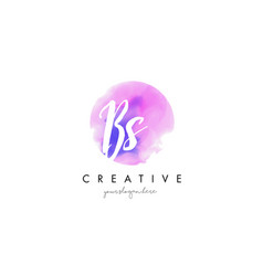bs watercolor letter logo design with purple vector image