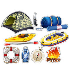 Camping sticker set with tent and sleeping bag vector