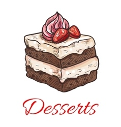 Chocolate cake with strawberry and cream sketch vector image