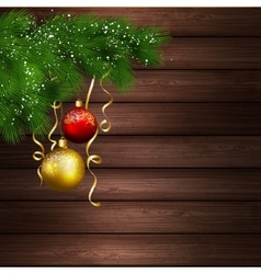 Christmas tree with balls in wood background vector image vector image
