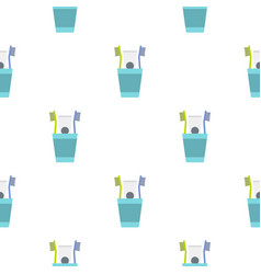cup with toothbrushes pattern seamless vector image vector image