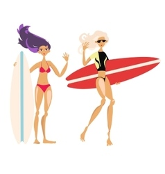 Cute cartoon surf girls hand drawn vector image