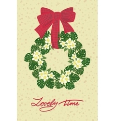 Greeting wedding card with flower wreath vector