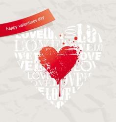 grunge hearts on vintage pape vector image