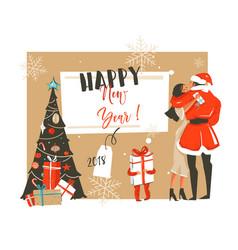 hand drawn abstract fun happy new year 2018 vector image vector image