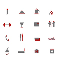 Hotel icons two colors vector image