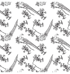 Japanese traditonal seamless pattern with birds vector