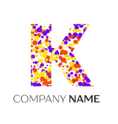 letter k logo with purple yellow red particles vector image