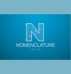 logo template letter n in the style of a vector image vector image
