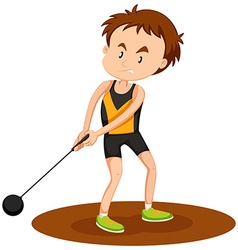 Man athelte doing hammer throwing vector image vector image