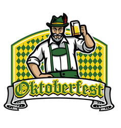 old man happy oktoberfest badge vector image vector image