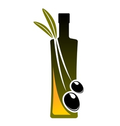 Olive oil icon with a bottle and fresh olives vector