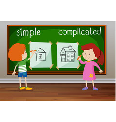 Opposite words for simple and complicated vector