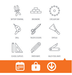 Paper knife spatula and scissors icons vector