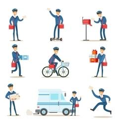 Postman in blue uniform with red bag delivering vector