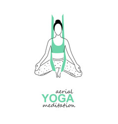 Printaerial fly yoga logo template anti-gravity vector
