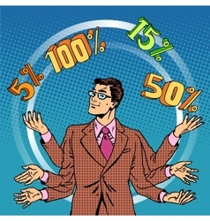 Promotions discounts sale businessman juggling vector
