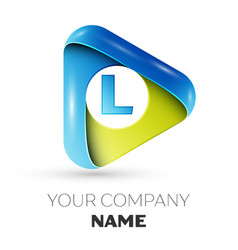 Realistic letter l logo colorful triangle vector