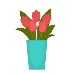 red flower in blue vase vector image vector image