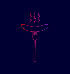 Sausage on fork sign line icon with vector