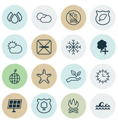 Set of 16 ecology icons includes cigarette vector