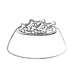 Sketch draw dog food in bowl vector