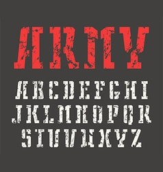 Stencil plate slab serif font in military style vector