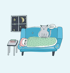 The cat wakes the owner meowing at night cute vector