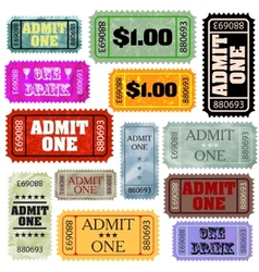 Tickets in different styles template set EPS 8 vector image vector image