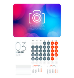 Wall calendar planner template for march 2018 vector