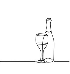 wine bottle and glass contour vector image
