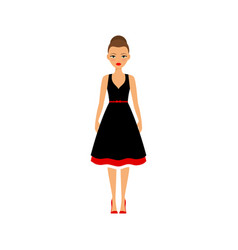 woman in black and red dress vector image vector image
