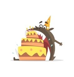 Black Monster Eating Party Cake In One Gulp vector image