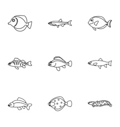 Ocean fish icons set outline style vector