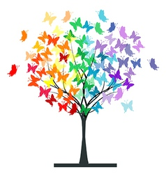 Butterflies rainbow tree vector image