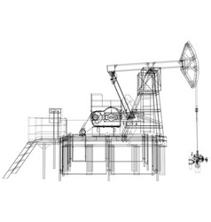 Oil pump jack rendering of 3d vector