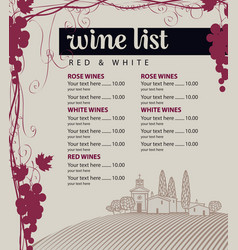 Menu for wine list with grapes and landscape vector