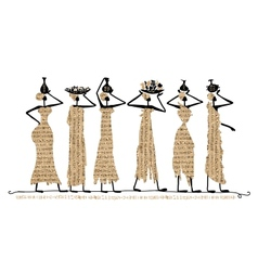 Sketch of egypt women with jugs for your design vector