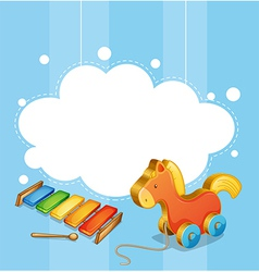 An empty cloud template with a toy horse and a vector