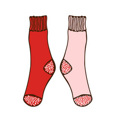 Doodle pair colored socks for design vector
