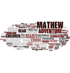 Mathew and the highland rescue book review text vector
