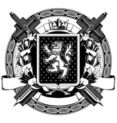 The black white coat of arms vector