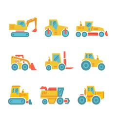 Set modern flat icons of tractors farm machines vector