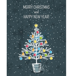 Grey background with christmas tree vector