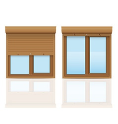 Plastic window with rolling shutters 09 vector