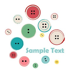 Group of sewing buttons with sample text vector